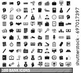 100 bank icons set in simple... | Shutterstock .eps vector #697017397