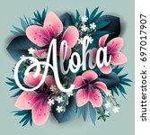 aloha hawaii. hand lettering... | Shutterstock .eps vector #697017907