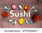 sushi lettering.wood letters... | Shutterstock . vector #697020607