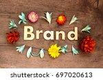 brand lettering.wood letters... | Shutterstock . vector #697020613