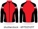 red   black   white jacket... | Shutterstock .eps vector #697025197