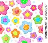 colorful sticker flower set... | Shutterstock . vector #697028947