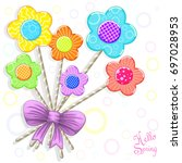 funny hearts candy background | Shutterstock . vector #697028953