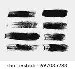 set of black horizontal vector... | Shutterstock .eps vector #697035283