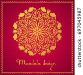 golden mandala on a red...   Shutterstock .eps vector #697045987