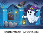 ghost with hat and lantern... | Shutterstock .eps vector #697046683