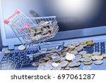 shopping in an online store ... | Shutterstock . vector #697061287