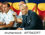 Small photo of Skopje, FYROM - August 8,2017: Real Madrid coach Zinedine Zidane during the UEFA Super Cup Final match between Real Madrid and Manchester United at Philip II Arena in Skopje