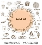 assortment of food around the... | Shutterstock .eps vector #697066303