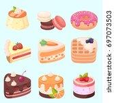 vector   set of delicious... | Shutterstock .eps vector #697073503