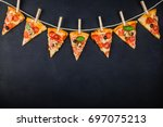 pieces of pizza in the form of... | Shutterstock . vector #697075213