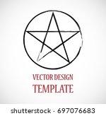 pagan symbol in grunge  old... | Shutterstock .eps vector #697076683