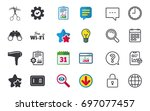 hotel services icons. wi fi ... | Shutterstock .eps vector #697077457