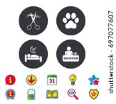 hotel services icons. with pets ... | Shutterstock .eps vector #697077607
