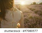 adorable lavender field mood... | Shutterstock . vector #697080577