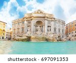 fountain trevi in rome at... | Shutterstock . vector #697091353