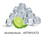ice cubes with lime   ice cubes ... | Shutterstock . vector #697091473