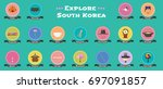 set of icons with korean  ... | Shutterstock .eps vector #697091857
