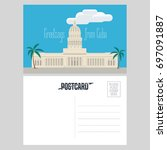 postcard from cuba with el... | Shutterstock .eps vector #697091887