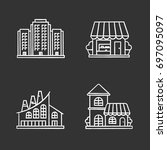 city buildings chalk icons set. ... | Shutterstock .eps vector #697095097
