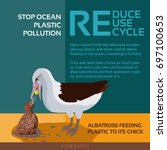 stop ocean plastic pollution... | Shutterstock .eps vector #697100653