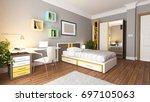 teen young bedroom interior... | Shutterstock . vector #697105063