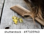 hair nourishment. vitamin serum ... | Shutterstock . vector #697105963