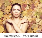 portrait of young  natural and... | Shutterstock . vector #697110583