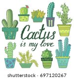 cactus in pot set. colored... | Shutterstock .eps vector #697120267