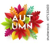 autumn banner background with... | Shutterstock .eps vector #697132603