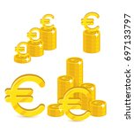 piles gold euro isolated... | Shutterstock .eps vector #697133797