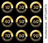 anniversary icon or label set.... | Shutterstock . vector #697134973