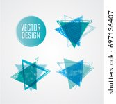 blue triangle retro shape.... | Shutterstock .eps vector #697136407