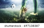soccer goal moment. mixed media ... | Shutterstock . vector #697138387
