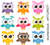 cute collection of bright owls | Shutterstock .eps vector #697139077