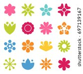 flower icon collection in flat...
