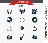 audio icons set. collection of... | Shutterstock .eps vector #697139977