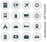 traveling icons set. collection ... | Shutterstock .eps vector #697141243
