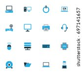 computer colorful icons set.... | Shutterstock .eps vector #697141657