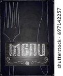 menu of restaurant on black...   Shutterstock .eps vector #697142257