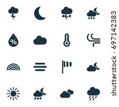 climate icons set. collection... | Shutterstock .eps vector #697142383