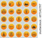 vehicle icons set. collection... | Shutterstock .eps vector #697142797