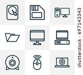 computer outline icons set.... | Shutterstock .eps vector #697143343