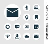 internet icons set. collection... | Shutterstock .eps vector #697143397