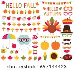 fall design elements and photo... | Shutterstock .eps vector #697144423