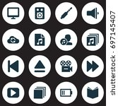media icons set. collection of... | Shutterstock .eps vector #697145407
