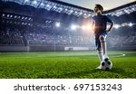 little soccer champion. mixed... | Shutterstock . vector #697153243