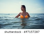 summer beach vacation holidays... | Shutterstock . vector #697157287