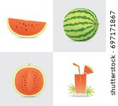 fresh and juicy red watermelon...   Shutterstock .eps vector #697171867