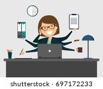 busy secretary smiling with... | Shutterstock .eps vector #697172233